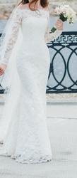 Шикарное кружевное свадебное платье цвета айвори